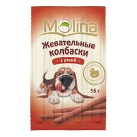 MOLINA Жевательные колбаски д собак утка 36 гр