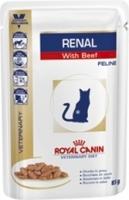 Кусочки в соусе для кошек при лечении почек, c говядиной, Renal S/O