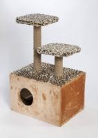 Домик-когтеточка 2 этажа с фигурной полкой
