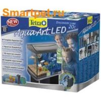 AquaArt LED 20л - аквариум + светильник LED + фильтр + корм + средство для воды