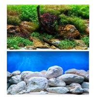 Фон Barbus двухсторонний водный сад/яркие камни высота 50-60 см
